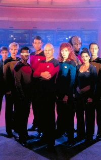 Obviously, this is an early promotional shot, since it's missing the most beloved character of all TNG: Riker's beard.